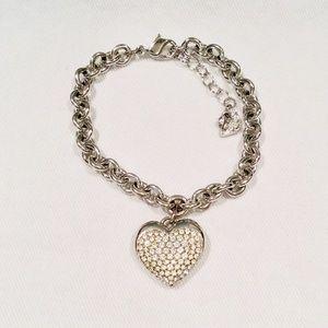 Swarovski Rhodium-Plated Pave Heart Bracelet